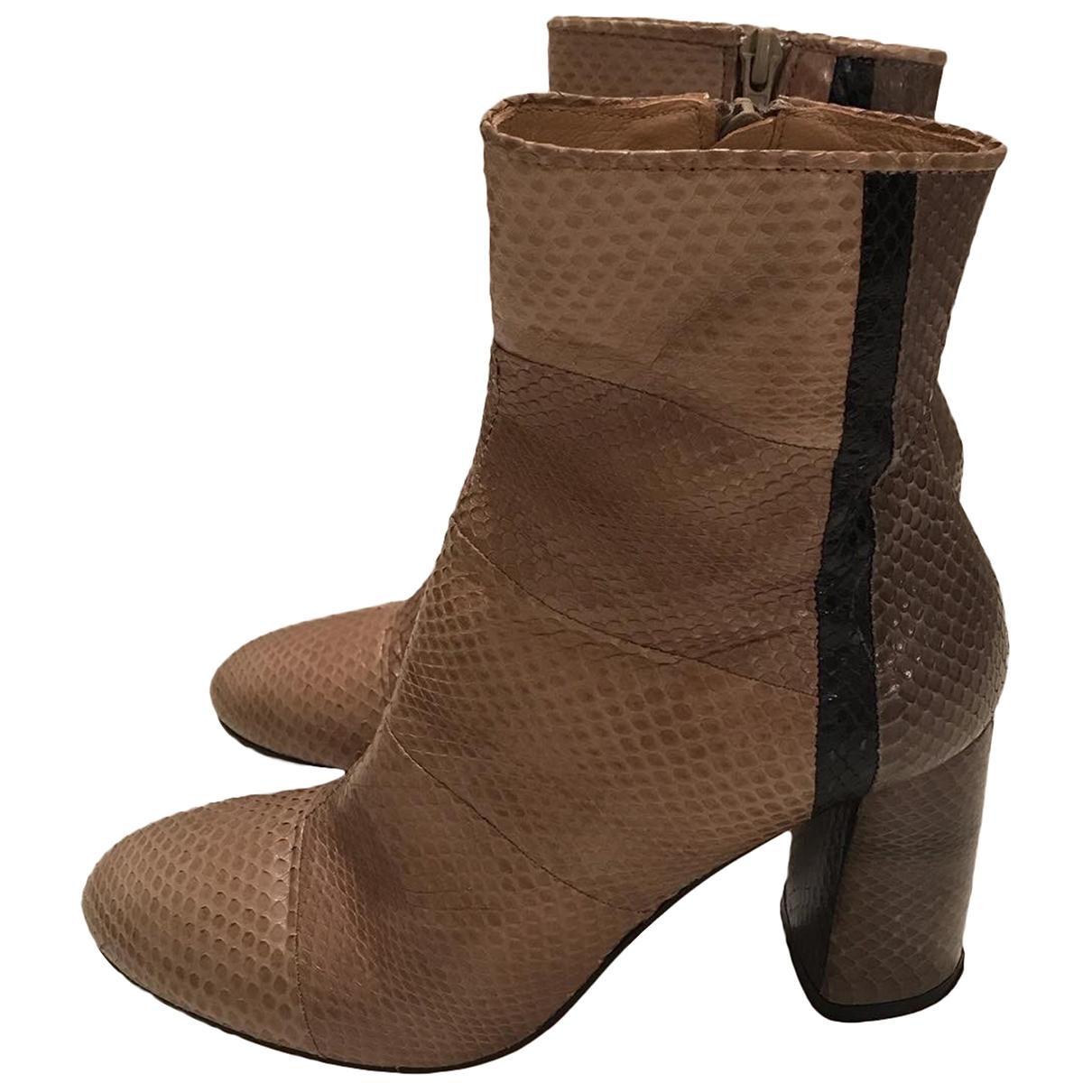 Maliparmi \N Beige Python Ankle boots for Women 37 EU