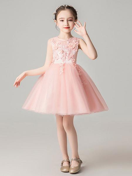 Milanoo Vestidos de niña de las flores Cuello joya Sin mangas Arcos Vestidos de fiesta social para niños