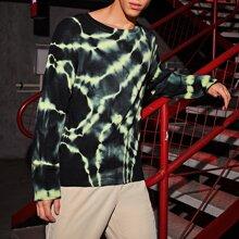 Men Drop Shoulder Tie Dye Sweater