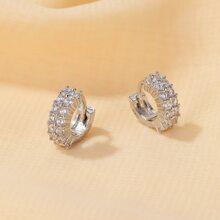1 par pendientes de aro con diamante de imitacion