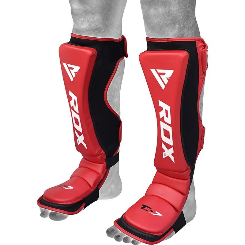 RDX T7 Rouge Protege Tibias Pieds Grande Cuir PU
