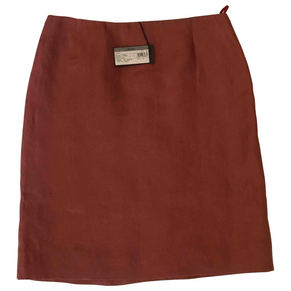 Prada \N Brown Linen skirt for Women 46 IT