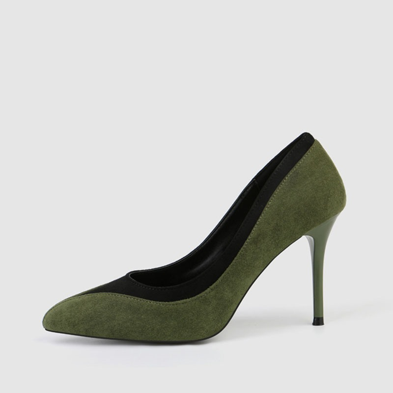 Ericdress Faux Suede Color Block Slip-On Pointed Toe Stiletto Heel Women's Pumps