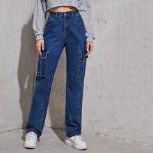 High Waist Slant Pocket Jeans