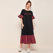 Letter Graphic Tartan Flounce Trim Dress