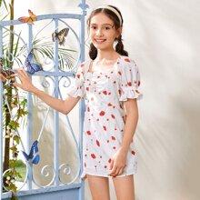 Vestido floral de manga farol con fruncido delantero de cuello cuadrado