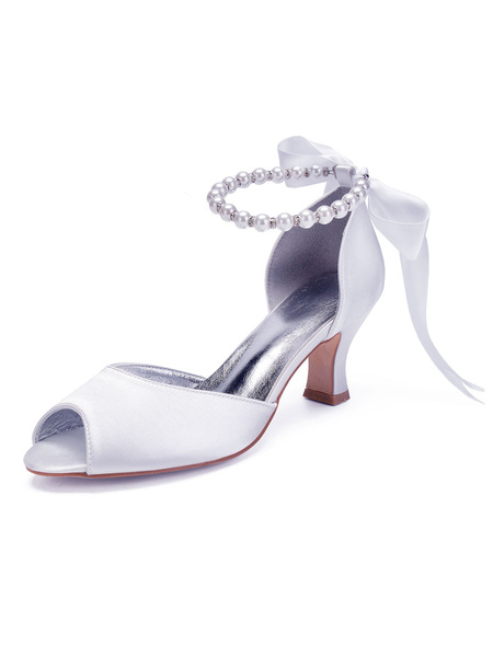 Milanoo Wedding Shoes White Round Toe Pearls Flared Heel Ankle Tie Wedding Shoes
