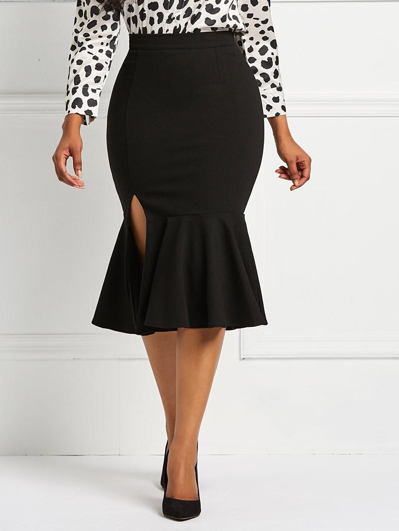 Ericdress Mermaid Plain Ruffles Split Womens Skirt