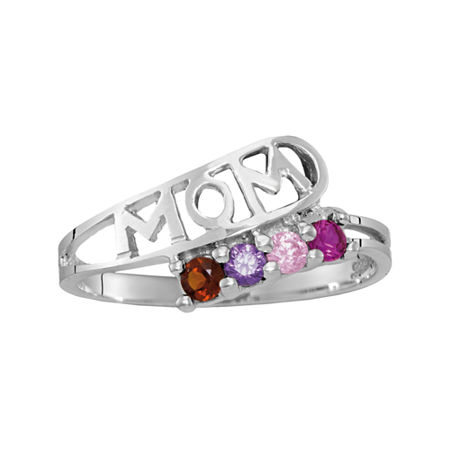 Personalized Sterling Silver Simulated Birthstone Mom Ring, 7 , No Color Family