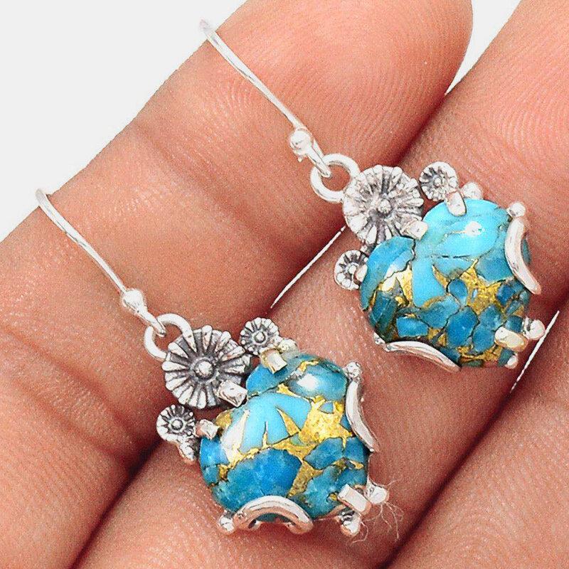 Vintage Geometric Peach Heart Pendant Earrings Temperament Metal Turquoise Earrings