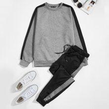 Guys Contrast Sideseam Pullover & Sweatpants Set