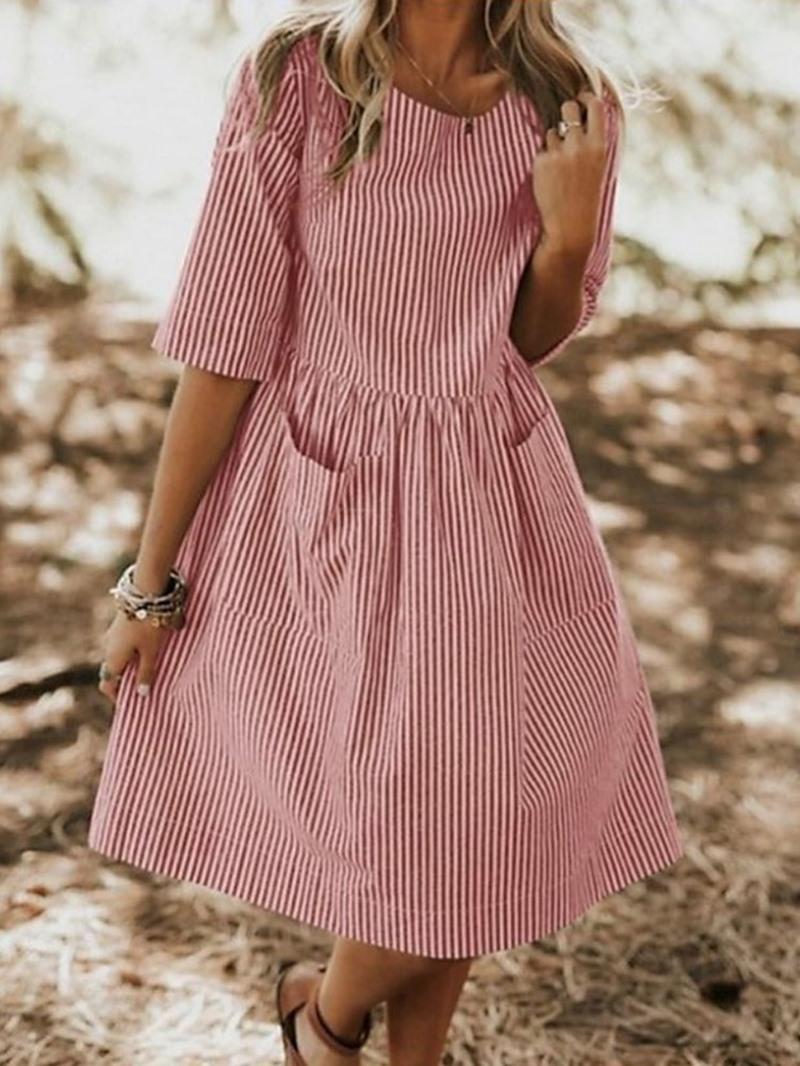 Ericdress Above Knee Half Sleeve Round Neck Regular Mid Waist Dress