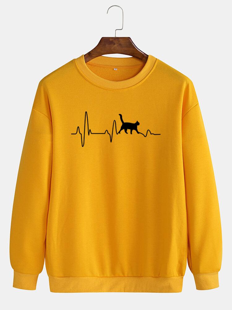 Mens Simple Black Cat & ECG Print Casual Loose Pullover Crew Neck Sweatshirts