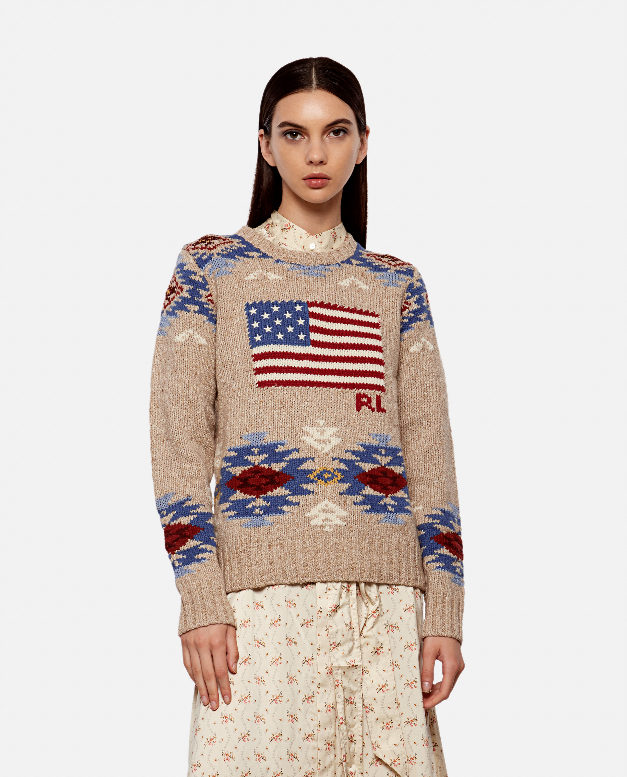 Sweater with American flag inlay