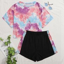 T-Shirt mit Batik und Track Shorts