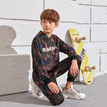 Boys Letter Graphic Allover Print Hoodie & Sweatpants Set