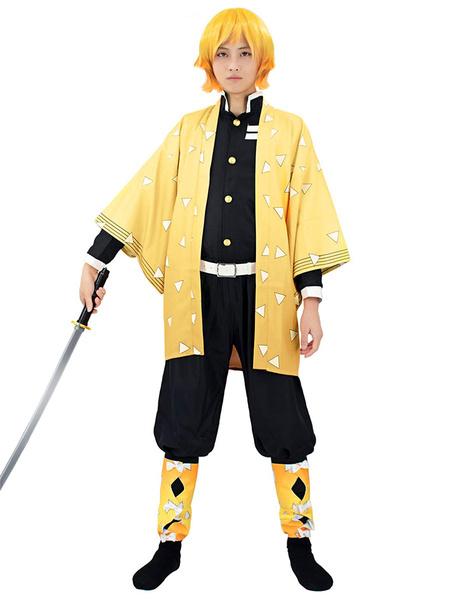 Milanoo Demon Slayer Kimetsu No Yaiba Agatsuma Zenitsu Kimono Only Anime Cosplay Costume