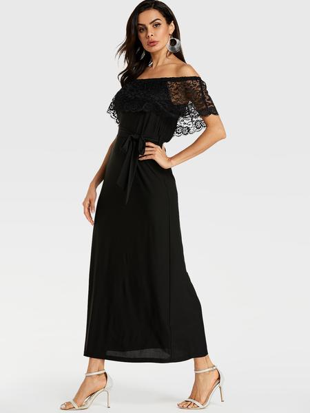 YOINS Black Lace Patchwork Off Shoulder Self-tie Design Dress