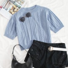 Solid Cable Knit Crop Top