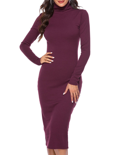 Milanoo Bodycon Dresses Brick Red Long Sleeves Casual High Collar Sheath Dress Sheath Dress