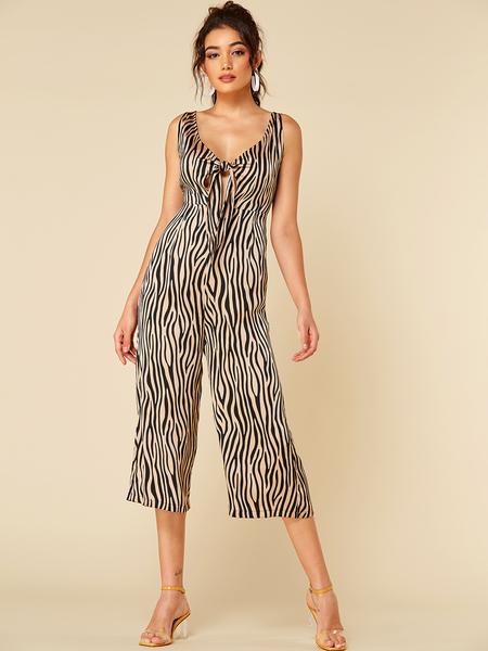 YOINS Orange Zebra Print Deep V-neck Knotted Backless Jumpsuit
