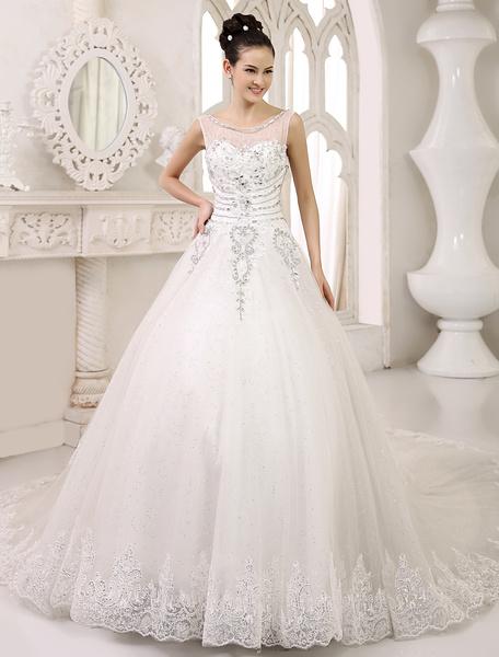 Milanoo Vestido de novia de tul de color marfil con escote en U de cola catedral