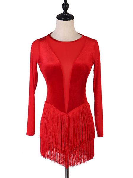 Milanoo Disfraz Halloween Baile Latino Vestidos Fringe Rojo Mujer Baile Disfraz Halloween