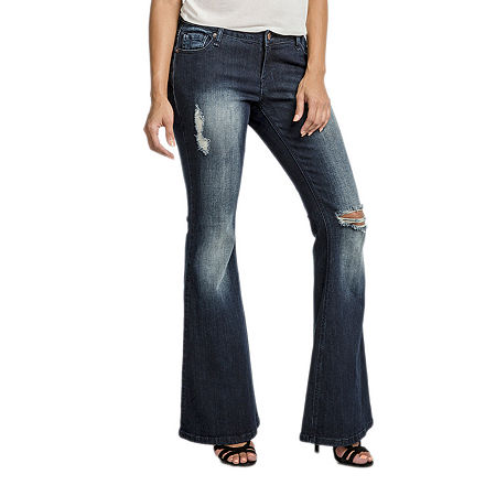 Poetic Justice Womens Mid Rise Curvy Fit Stretch Flare Jean, 31 , Blue
