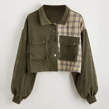 Spliced Plaid Flap Pocket Crop Corduroy Jacket
