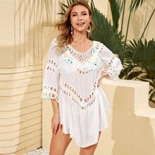 Crochet Insert Solid Cover Up Without Bikini