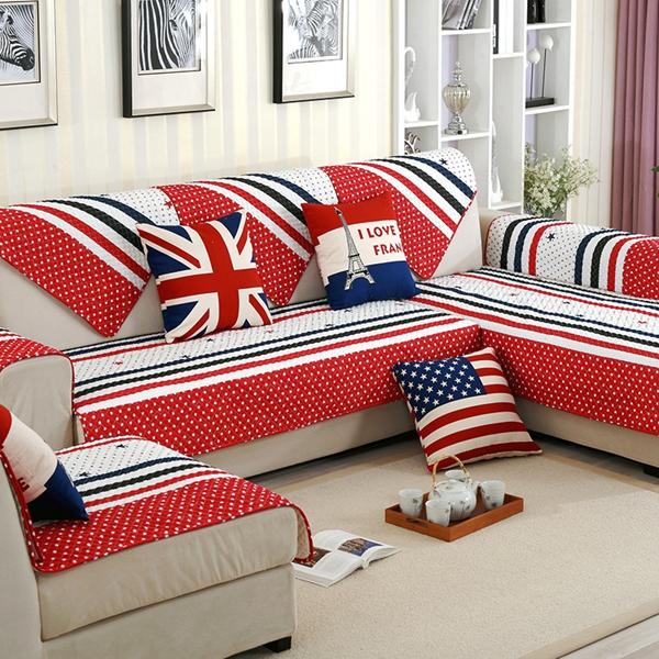 Super Soft Plush British Style Three color Strips Print Cotton Cushion Sofa Covers