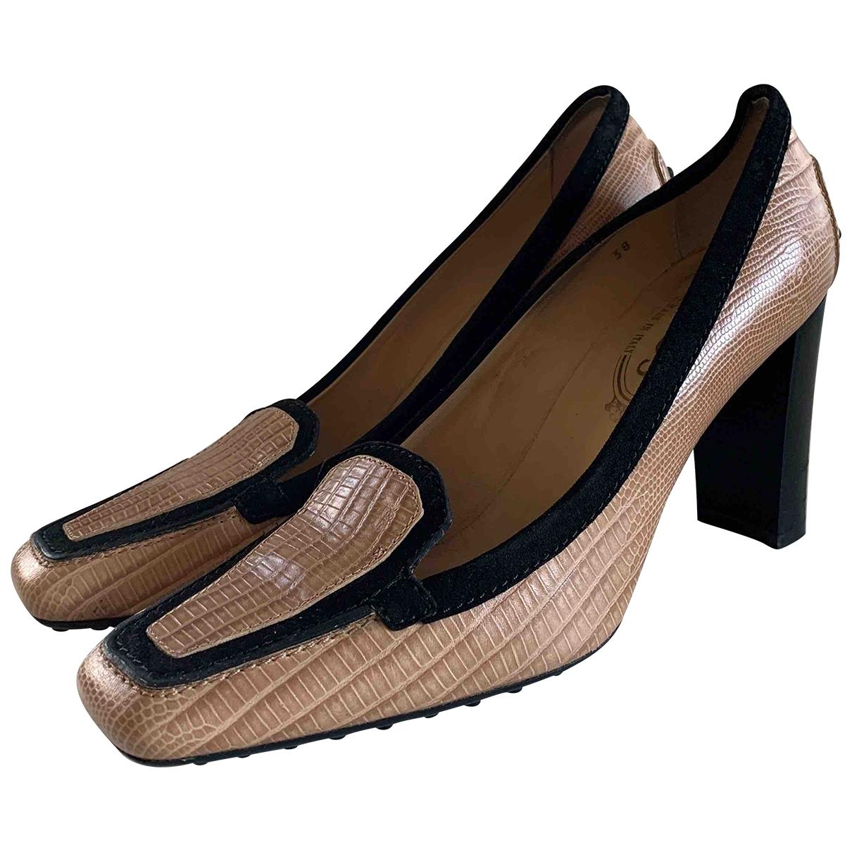 Tod's \N Beige Leather Heels for Women 38 EU