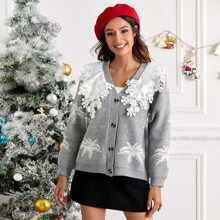 Contrast Ruffle Appliques Tropical Pattern Cardigan