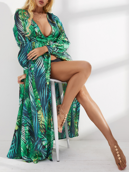 Yoins Green Split Design Tropical V-neck Long Sleeves Dress