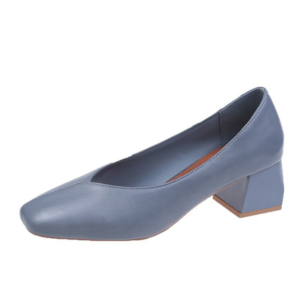 Women Casual Solid Color Wearable Square Toe Chunky Heel Shoes