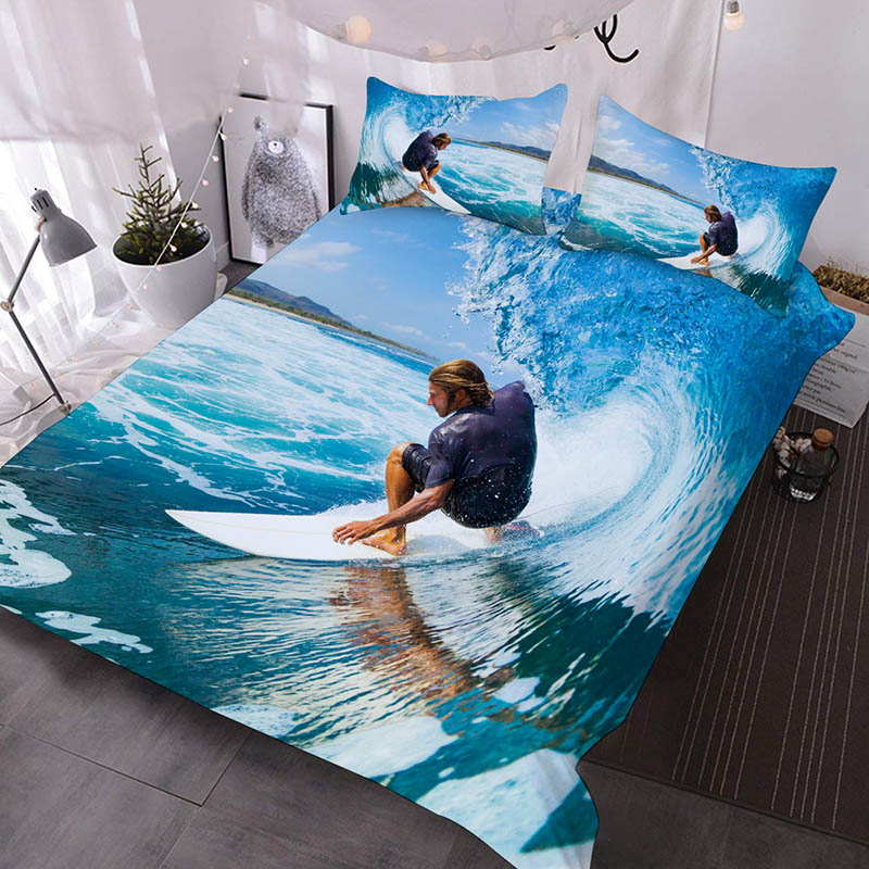 A Man Surfing On The Sea Printed Polyester 3-Piece Comforter Sets