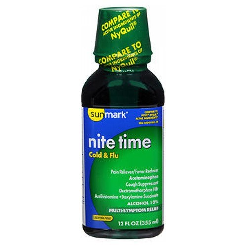 Sunmark Nite Time Cold Flu Liquid 12 oz by Sunmark