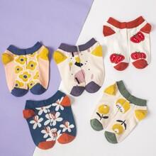 5pairs Flower Pattern Socks