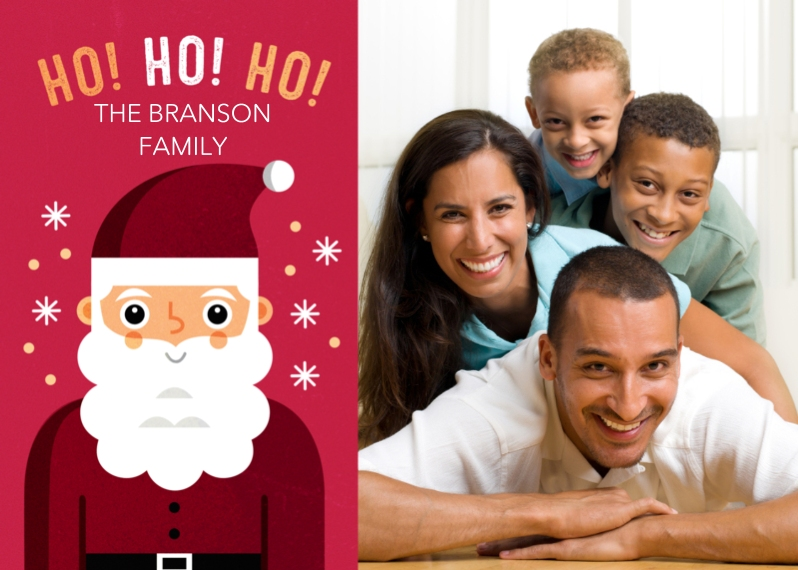 Christmas Photo Cards 5x7 Cards, Standard Cardstock 85lb, Card & Stationery -Button-nosed Santa