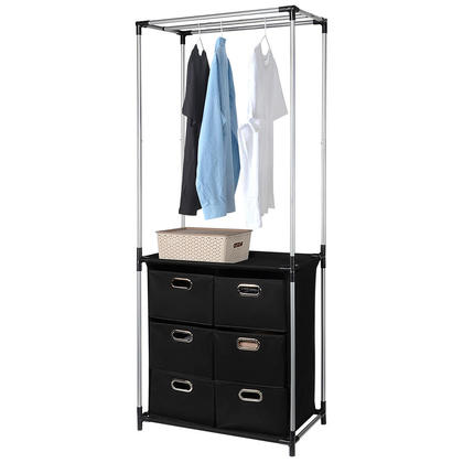 Closet Storage Organizer Garment rack with 6 Drawers and 3 Overhead Bar for Hanging Clothes