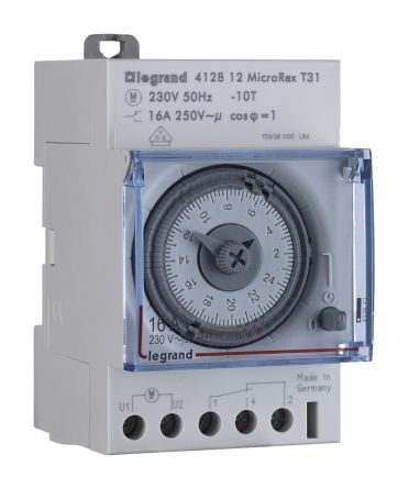 Legrand 3 Channel Analogue DIN Rail Time Switch Measures Hours, Minutes, Seconds, 230 V ac
