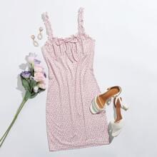 Kleid mit Rueschenbesatz, Riemen, Knoten vorn und Bluemchen Muster