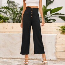 Notched Waistband Buttoned Front Wide Leg Pants