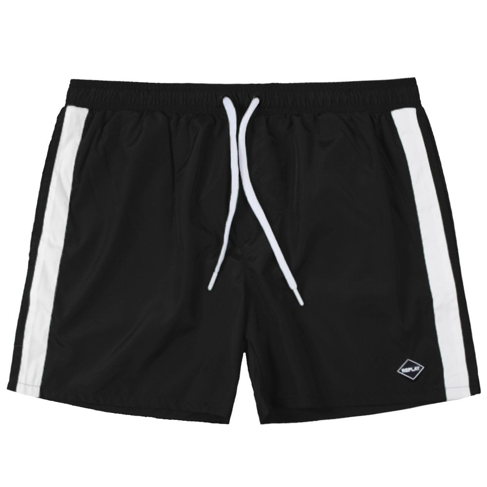 Replay Taped Shorts Colour: BLACK, Size: LARGE