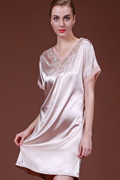 Plain V-Neck Design With Charming Lace Popular Sleepshirt
