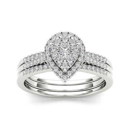 1/2 CT. T.W. Diamond 10K White Gold Bridal Ring Set, 8 1/2 , No Color Family