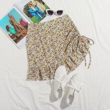 Drawstring Side Ruffle Hem Ditsy Floral Skirt