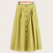 Trim Button Front Dual Pocket Skirt