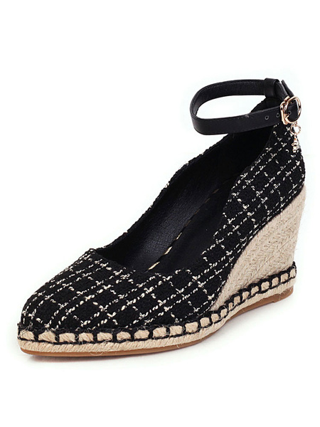 Milanoo Wedge Heel Espadrilles For Lady Pointed Toe Ankle Strap Woman\'s Shoes