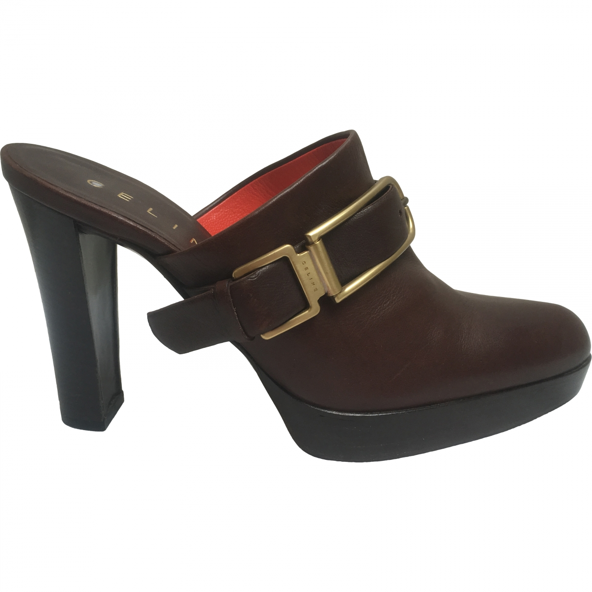 Celine \N Brown Leather Mules & Clogs for Women 37 EU